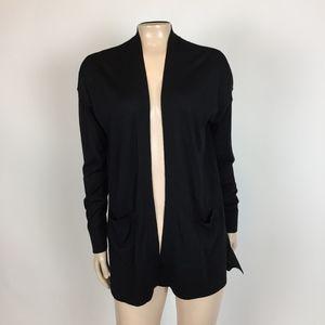 NEW Loft Sweater Small Black Open front Wool Z16